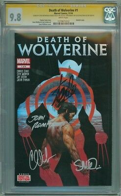 DEATH OF WOLVERINE #1 CGC 9.8 SIGNATURE SERIES x4 SIGNED STAN LEE ROMITA SOULE