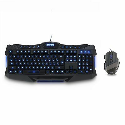 Plixio Backlit LED Light Up Wired Gaming Keyboard & USB Mouse Set - 3 Colors PC