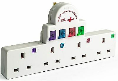 2X  4 Way Gang Surge and Spike Protected 13Amp Switched Socket Extension Lead