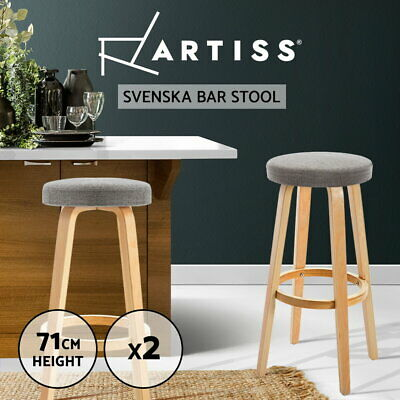 2x Bentwood Bar Stool Wooden Barstool Dining Chairs Kitchen Padded Seat Taupe