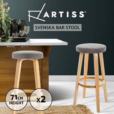 2x Wooden Bar Stools Kitchen Dining Chairs Leather Beech Plywood White 1568
