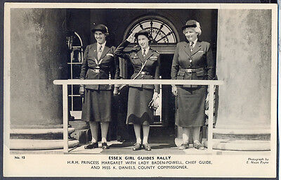 Princess Margaret Salutes at Essex Guide Rally. 1949 Real Photo Postcard