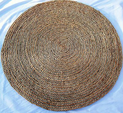 Indian Round Rug - Jute With Blue Specks 3ft (0.92mts) dia.S005