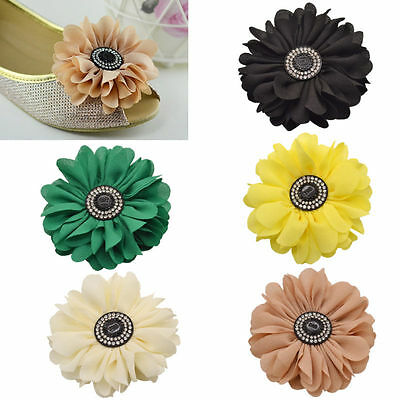 1 Pc Fabric Daisy Flower Shoe Clip Buckle Wedding Bridal Removable Women Elegant