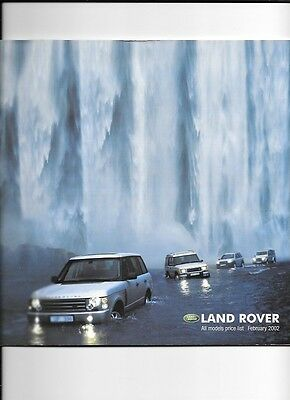 Land Rover Ranges And Range Rover Price List Sales Brochure  February  2002