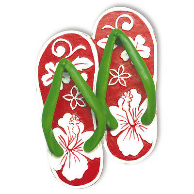 Hawaiian Red White HIBISCUS SLIPPERS Flip Flops Handpainted ORNAMENT Hawaii New