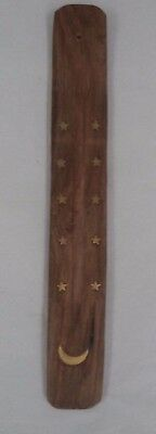 "10"" Wooden Wood Incense Burner / Ash Catcher / Holder for Sticks MOON: 1 3 6 12"