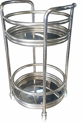 Stainless Steel Round Kitchen Dining Food Catering Drink Wine Serving Trolley