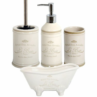 Le Bain Ceramic Bathroom Accessory Set Vintage 4pc Tumbler Soap Dispenser & Dish