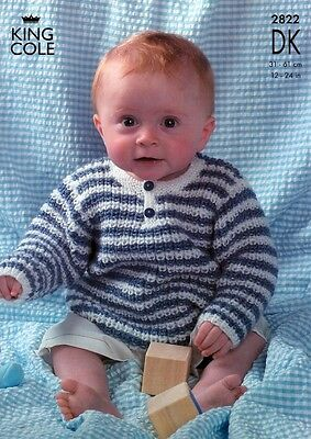 King Cole Baby Sweaters & Cardigans Big Value Knitting Pattern 2822  DK (...