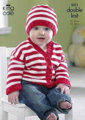 King Cole Baby Cardigans & Hat Cottonsoft Knitting Pattern 3511  DK (KCP-...
