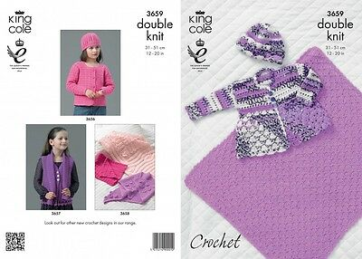 King Cole Baby Coat, Blanket & Hat Comfort Knitting Pattern 3659  DK (KCP...