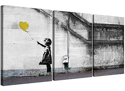 Banksy Balloon Girl Canvas Art 3 Panel for your Bedroom