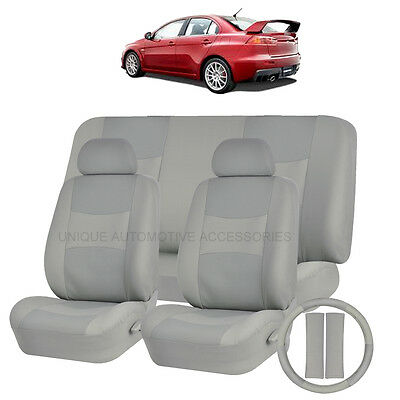 PU LEATHER SOLID GRAY SEAT COVERS 11PC set for MITSUBISHI GALANT