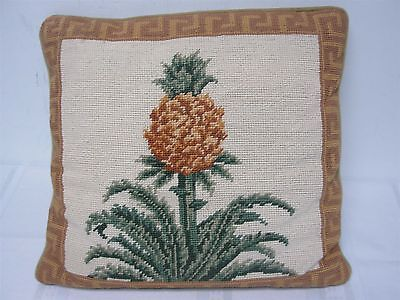 """VINTAGE HAND STITCHED NEEDLEPOINT THROW PILLOW w WELCOMING PINEAPPLE 14"""""""