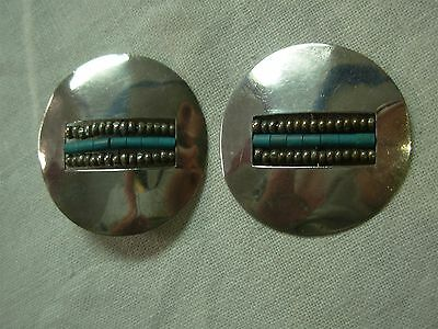 Vintage Native American Sterling Silver & Turquoise Bead Large Disc Earrings