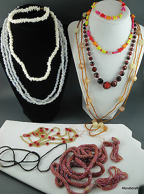Junk Jewelry Craft Lot 11 Seed Bead Necklaces Puka Shell Faceted Glass Bracelets
