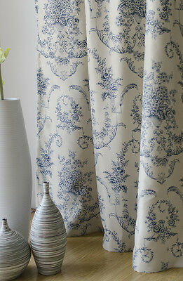 BLUE IVORY print decorative ring top EYELET Blockout Curtain 140x221cm ~ 1 panel