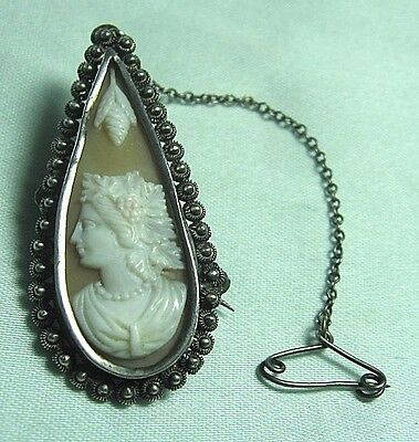 Test Silver Real Shell Tear Drop Cameo Pin w Safety Chain  6.5 grams