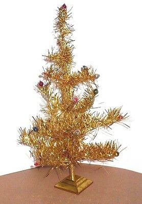 Vintage Christmas Small 14 1/2 In. Gold Tinsel Tree With Glass Beads Japan