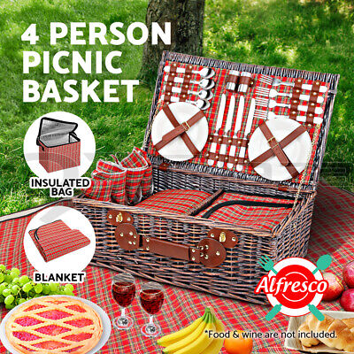 Deluxe 4 Person Insulated Picnic Basket Hamper Set Corporate Gift Cooler Blanket