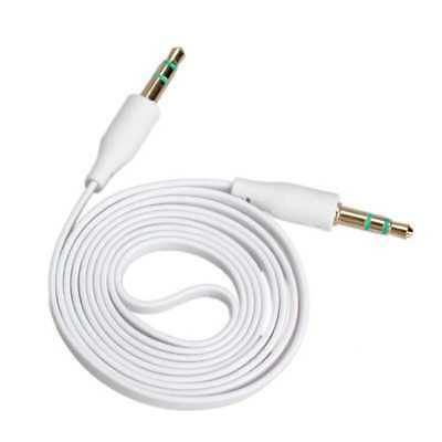 Cable Mini Jack de 3,5mm Estereo Doble Macho Plano Audio 1m para Coche Blanco