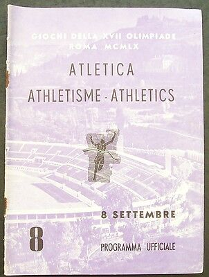Rome Olympic Games 1960 Athletics Programme.8 September