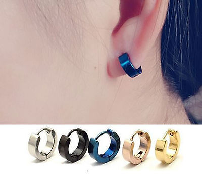 Man Women 316L Surgical Stainless Steel Titanium Gothic Hip hop Earrings Hoop