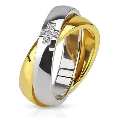 Ladies Womens Stainless Steel Polished Gold plated Russian 6mm Wedding Band Ring