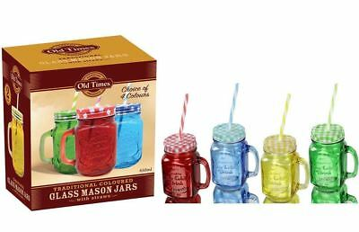 4 Multi Coloured Mason Jam Jars Drinking Summer Fruit Cocktail Jar Handle Straw