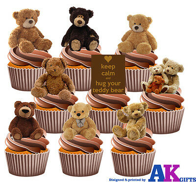 PARTY PACK - 36 Teddy Bears Edible Cup Cake Toppers Birthday Christening Baby
