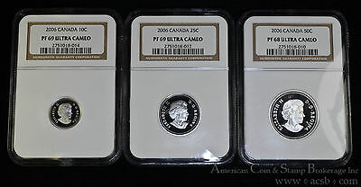 Canada 2006 NGC Lot of 3 Coins 10 25 50 Cents PR68 & PR69 UCAM Ultra Cameo.