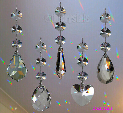 Hanging Crystal Suncatcher Prism with Swarovski Octagons or full lead Squares