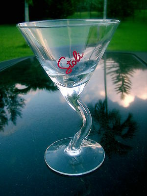 Stoli Genuine Russian  Vodka  Curved Stemmed  Glass  Red Logo Replacement ***