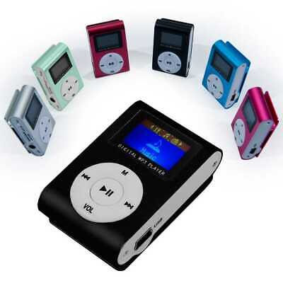 Reproductor Lector Mini MP3 Clip LCD de Metal Micro SD hasta 32Gb Radio FM Negro