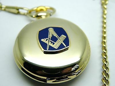 The Masonic Craft Pocket Watch And Chain Square And Compass Badge In Gift Pouch
