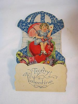 Fold Out German Old Valentine's Day Card Pop Out Vintage Antique     T*