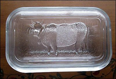 VINTAGE STYLE PRESSED GLASS COVERED BUTTER DISH with COW - 16492