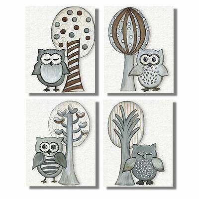 Gray Woodland Owls neutral WALL ART FOR NURSERY decor for baby's room