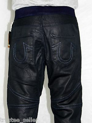 796afb4f692b True Religion Brand Men's Fashion F Leather Coated Moto Black Jogg Jeans  Pants