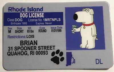 Brian Griffin - Drivers License - Dog License Novelty
