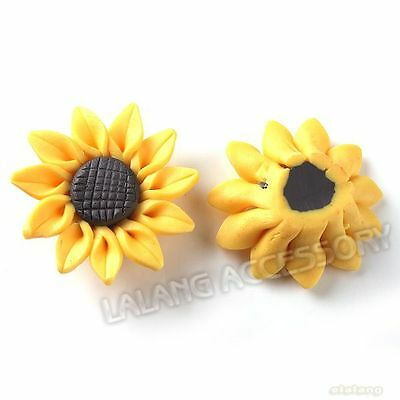 20pcs Lots Charms Yellow Sunflower Shape FIMO Polymer Clay Beads Ornaments HOT D