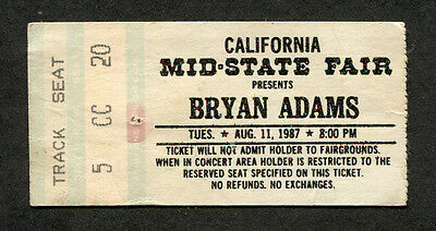 1987 Bryan Adams Concert Ticket Stub Paso Robles Into The Fire Heat of The Night