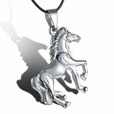 Men Unisex Silver Horse Stainless Steel Pendant Necklace Leather Party Jewelry