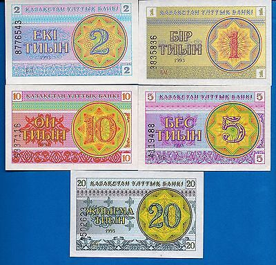 Kazakhstan P-1,2,3,4,5 Tyin Year 1993 Uncirculated Banknotes Set # 2