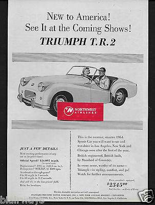Triumph Motor Company 1954 Tr-2 New To America At Coming Shows $2345 1953 Ad