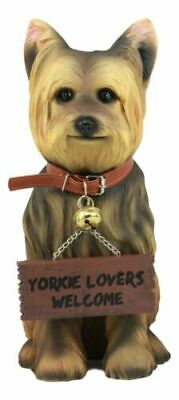 Yorkie Yorkshire Terrier Figurine W/ Jingle Collar and Sign Patio Welcome Statue