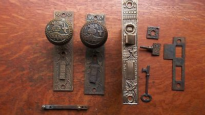 "Antique Brass Entrance Doorknobs Doorplates & Lock ""Broken Leaf"" c1887 Lockwood"
