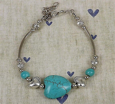 NEW Free shipping Jewelry silver Pendant jade turquoise bead DIY bracelet S294D