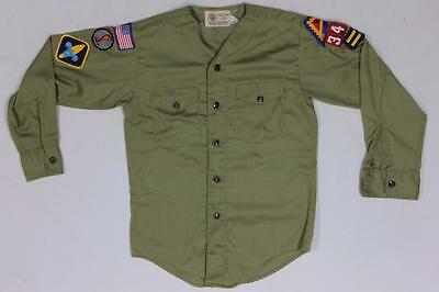 Vintage BSA Boy Scouts Green Uniform Patches Youth Shirt